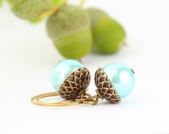 Acorn Earrings -  Nature Earrings - Woodland Jewelry - Antique Gold Brass - Nature Earrings - Gift For Mom - Blue Acorn Earrings