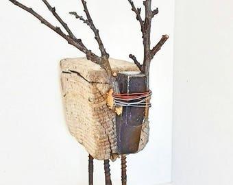 Driftwood sculpture. ... Reindeer... unique