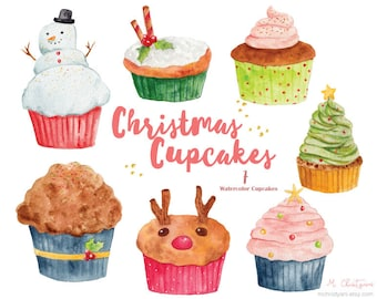 Christmas Cupcakes 7 Elements Clip Art PNG for Invitation, Greeting Card, Blog, DIY, New Year,Watercolor Graphics,Scrapbook, Watercolor Cake