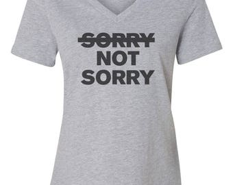 Sorry Not Sorry Custom Women's Relaxed V Neck Tee T-Shirt-Athletic Heather