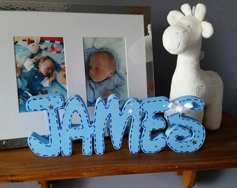 Big Chunky wooden names letters words Free Standing names 12 cm  tall up to 6 letters