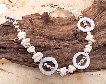 Chunky beach jewelry, shell bracelet, boho beach bracelet, beach wedding bracelet, boho bride accessories, artisan jewelry