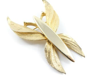 Vintage Butterfly Brooch, Gold Tone, T60