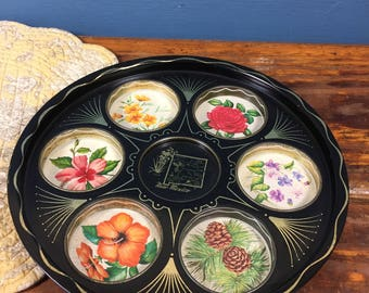 Vintage Black Painted Tin Tray, New Mexico, Yucca, Rose, Pine, Pansy, Gold Accents, Vintage Retro Old, Flower Tray, Organizing Organization