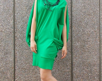 Green Summer Dress, Cotton Summer Dress, Short Funky Summer Dress TDK120 by TEYXO