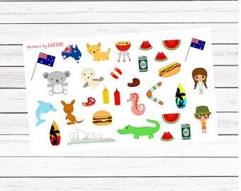 Australia Day/Australia trip || Kiss Cut planner stickers || Erin Condren Life Planner, Kikki K, Plum Paper Planner