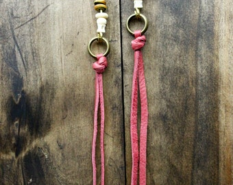 leather tassel bone earrings