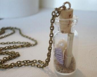 Message in a Bottle Necklace Glass Bottle Necklace Seashell in a Bottle Glass Vial Necklace Personalized Beach Jewelry
