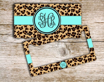 Unique gift for teenage girls, Cute license plate or frame, Monogram custom car tag  Car accessory Bicycle license plate Cheetah blue (9959)