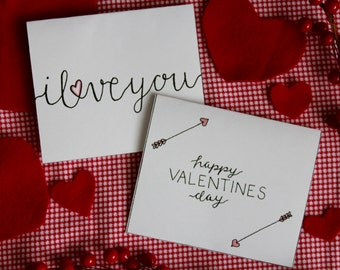 Handwritten Valentine's Day Cards Printable Color Yourself - 2 Count