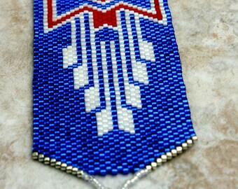 Perles tissées Bracelet Bracelet en perles - amérindien - Bracelet bleu en perles - Perles de poignet Band - déclaration - OOAK - fait à la main