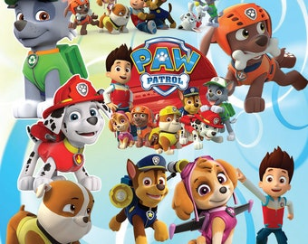 50 Paw patrol Clipart, Paw Patrol characters full quality, Clipart transparent background, 300dpi, instant download