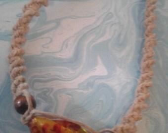 Fire bead Hemp necklace