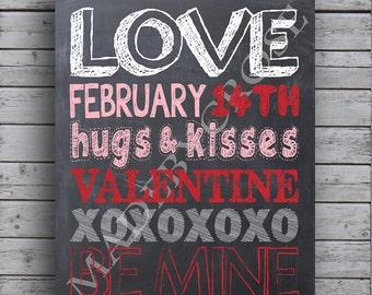 Chalkboard Valentine Subway Art Print
