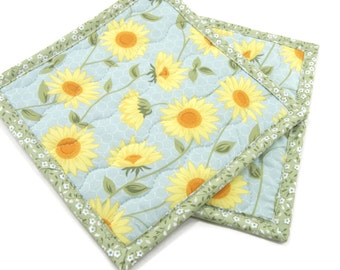 Floral Hot Pads, Quilted Fabric Pot Holders - Yellow Flowers on Blue with Green Set of Two 8 Inch Potholders, Housewarming Gift