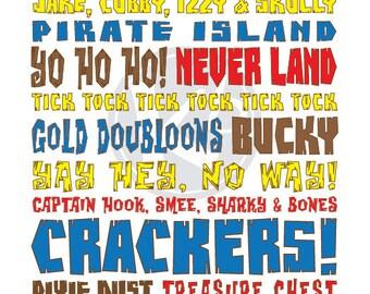 Jake and The Neverland Pirates Subway Art, 8x10 Digital Print