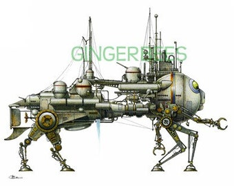 "3 of 12 Fanciful Submarine Giclee Print on Fine Art Smooth Paper (16""x12"")"
