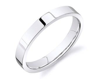 14k White Gold Band (3mm) / PLAIN / Polished Flat + Comfort Fit / Men's Women's Wedding Ring Thin