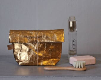 Gold Make up bag   made from washable paper   Cosmetic bag   Toiletry storage bag   Wash bag   Bathroom Storage