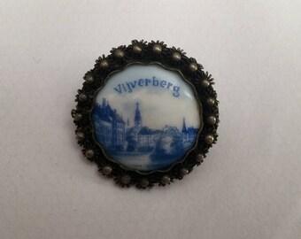 Vintage Vijverberg Pottery and Silver Brooch