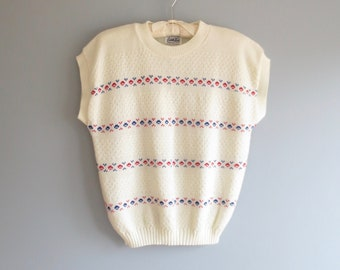 80s shell top * vintage knit top * 1980s cuddle knit sweater shell * texture knit top * m / l