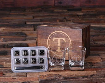 Personalized Whiskey Scotch Glass Set, Ice-Cubes Sipping Stones with Wood Box Gift for Men, Groomsmen, Father's and Dad (025245)