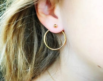 Gold Ball Earring with Gold Circle Stud Ear Jacket // Ball Earring with Open Circle Ear Nut // Dot Ear Jacket// Edgy Gold Earring // Gold Ba
