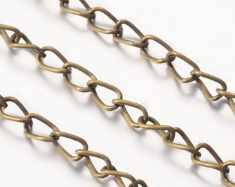 2M Antique Bronze Tone Twist Link Chain 3.5x5.5mm (S10)