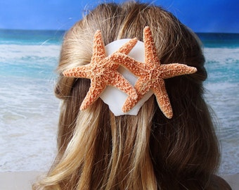 Sugar Starfish & Shell Barrette -  Beach Wedding Alligator Hair Clip Accessory - Hairclip Pin Hairpin Mermaid Shell