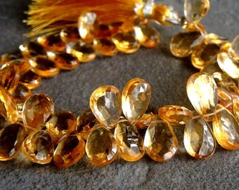Citrine pear faceted briolette- 7x12mm- 2 Pairs