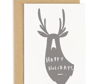Happy Holidays Deer Christmas Card - Holiday Card - Christmas Quote Card - Christmas Deer Card - CC197