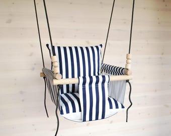 Baby Swing***Ships Fast***Toddler Swing/ Navy White Stripes/ Swing/ Nursery Swing/ Indoor Swing/Playroom Furniture/ Cotton Swing/  Hammock