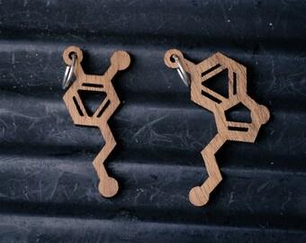 Small Serotonin and Dopamine Molecule Necklace pendant