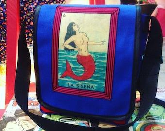 Blue Canvas La Sirena Messenger Bag, Mermaid Bag, Courier Bag