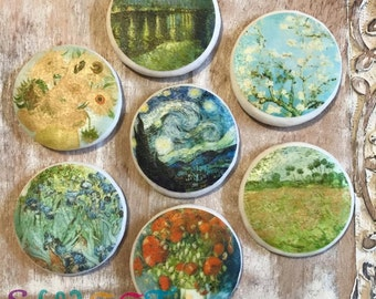 Edible Van Gogh Painting Cupcake, Cookie, Oreo or Drink Toppers - Wafer Paper or Frosting Sheet