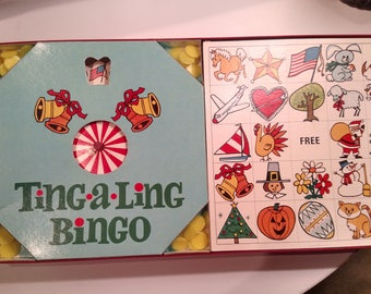Vintage Ting-A-Ling Bingo Game from 1968 With Musical Chimes by Cadaco, Mad Men Area, Retro Board Games, Holiday Gift, retro games