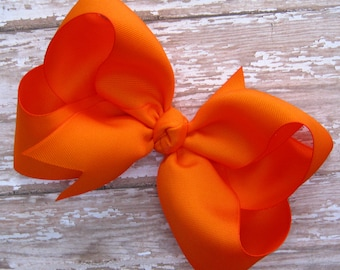 Large 6 inch Grosgrain Hair Bow in Orange Big Girls Boutique Style Hairbow