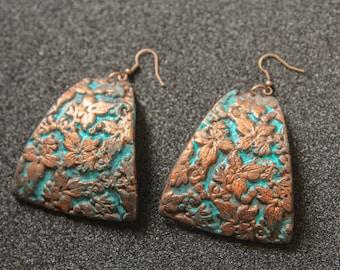 Boho Earrings Turquoise Patina Ethnic earrings Tribal Earrings Blue Patina Earrings Boho Jewelry Bohemian Foliage Earrings