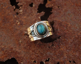 Ethnic type mounted with a labradorite sterling silver ring.