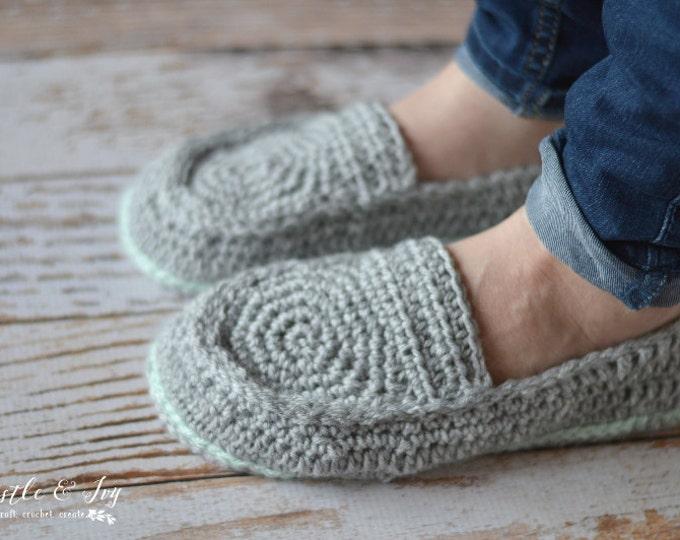 CROCHET PATTERN: Women's Loafer Slippers pdf DOWNLOAD