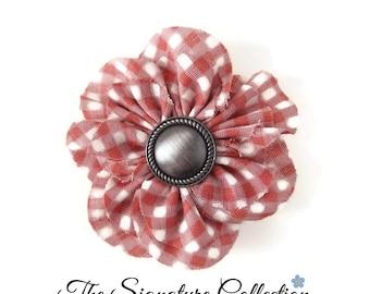 Fabric Flower Brooch - Pink Gingham - Fabric Daisy - Vintage Cotton Fabrics