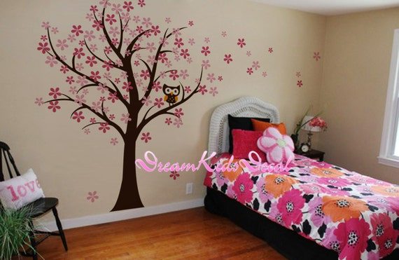 hibou et cerisier des oiseaux fleur arbre mur stickers chambre. Black Bedroom Furniture Sets. Home Design Ideas