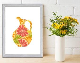 Kitchen Art  Print, Dining Wall Decor, Orange Lemon & Lime, Kitchen Wall Art, Kitchen Poster Print, Wall Art Kitchen, Citrus Print