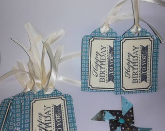 Each gift tag (set of 10) - Happy birthday to you - blue