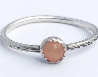 Moonstone Stacking Ring Thin Stacking Ring Peach Moonstone Ring Thin Stacking Band Promise Ring June Birthstone Ring June Birthday Gift