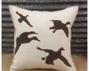 Decorative Pillow with a flock of ducks on the front. COMPLETE pillow. Hunting decor, Duck pillow, Cabin decor, Lodge decor