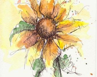 Sunflower Original Watercolor Art Painting Pen and Ink Watercolor Art