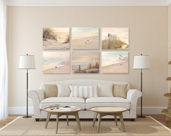 Coastal Wall Art, Shabby Chic Beach Decor SET Of SIX Prints Or Canvases,  Neutral