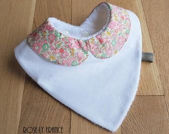 Clear Liberty Betsy Ann pink Peter Pan collar bandana bib