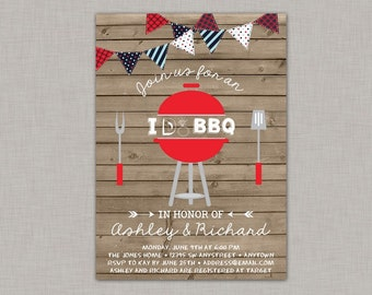 I do BBQ Invitation, Backyard BBQ Invitation, Couples Shower, BBQ, 4th of July